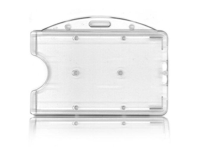 Porte-badge rigide transparent avec attache horizontale face arrière