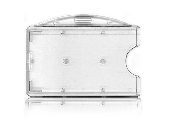 Porte-badge rigide transparent avec attache horizontale face avant