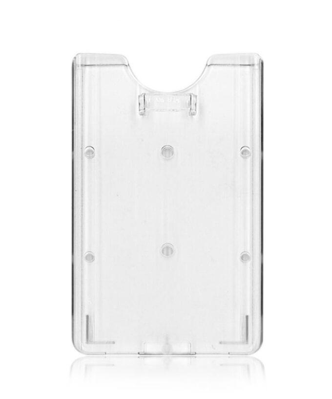 Porte-badge rigide transparent avec attache verticale face arrière