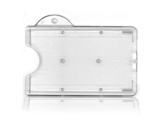 Porte-badge rigide transparent avec attache porte-clés face arrière