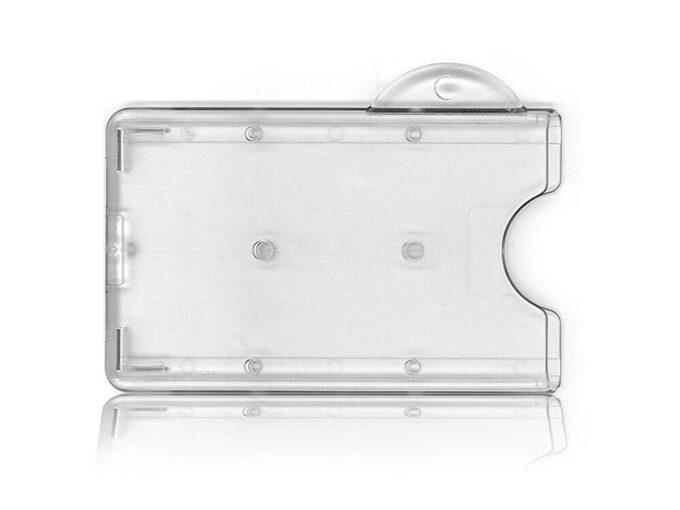 Porte-badge rigide transparent avec attache porte-clés face avant