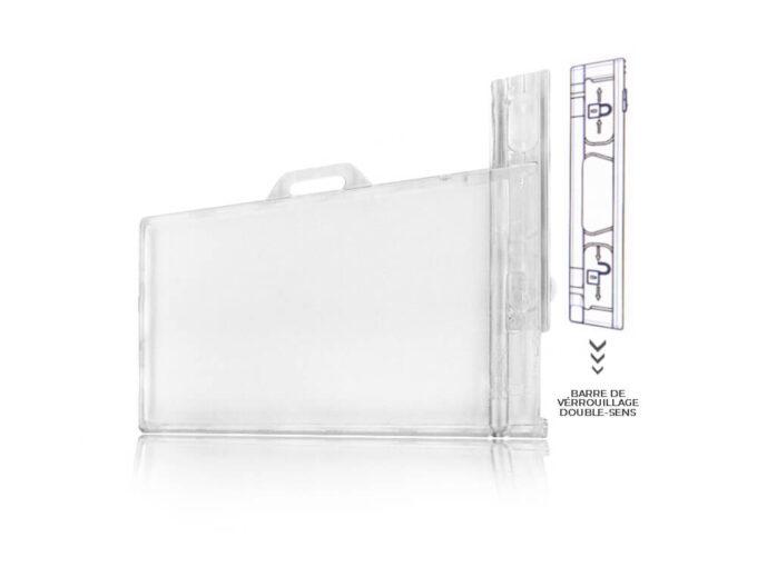 Porte-badge rigide transparent sécuritaire avec système de verrouillage sens 1