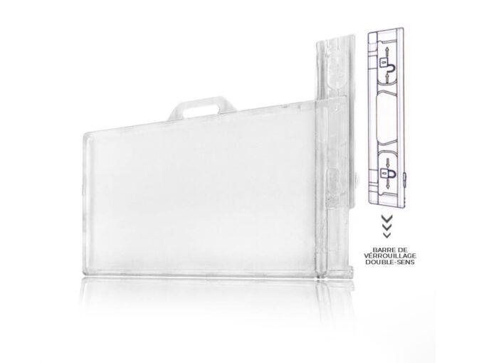 Porte-badge rigide transparent sécuritaire avec système de verrouillage sens 2