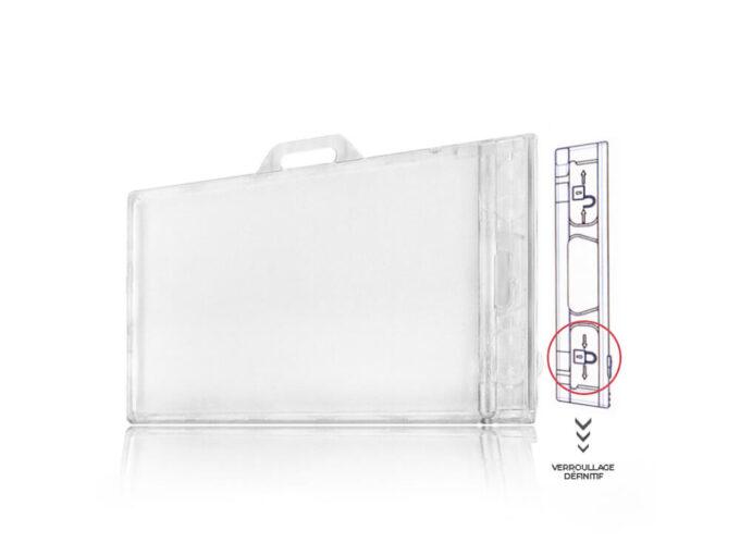 Porte-badge rigide transparent sécuritaire avec système de verrouillage définitif 2