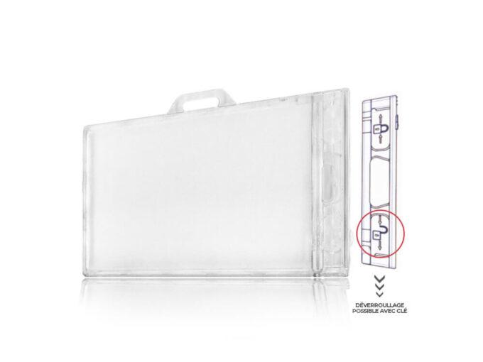 Rigid transparent security badge holder locked