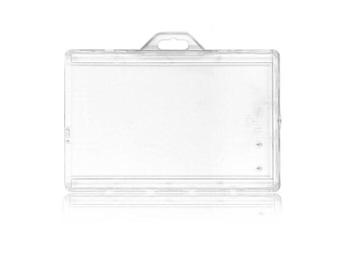 Porte-badge rigide transparent sécuritaire avec ergot de blocage face arrière