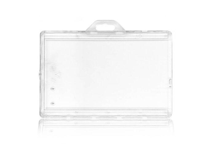 Porte-badge rigide transparent sécuritaire avec ergot de blocage face avant