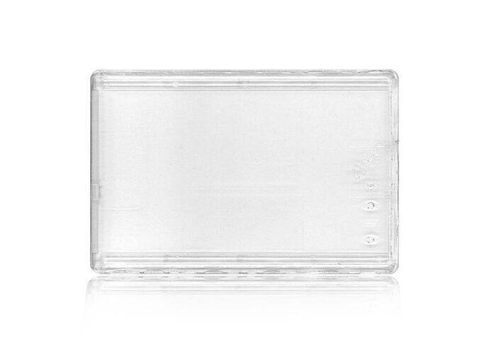 Protège-carte rigide transparent sécuritaire avec ergot de blocage face arrière