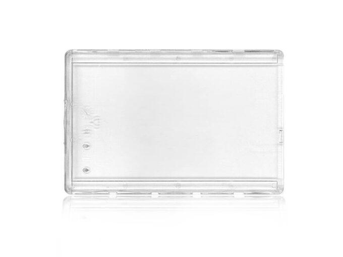 Protège-carte rigide transparent sécuritaire avec ergot de blocage face avant
