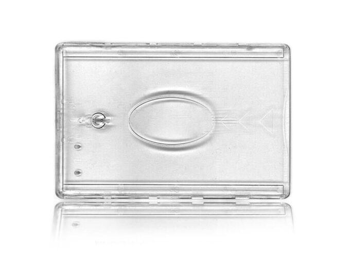 Protège-carte rigide transparent avec fenêtre centrale et frein boule face avant