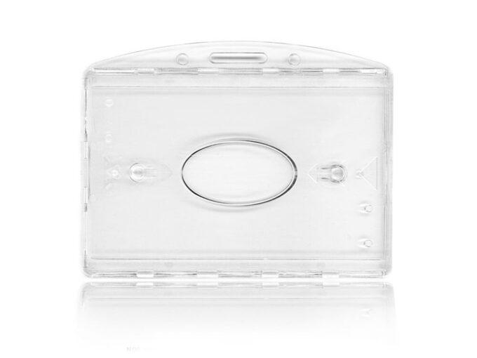 Porte-badge double rigide transparent avec attache horizontale face avant