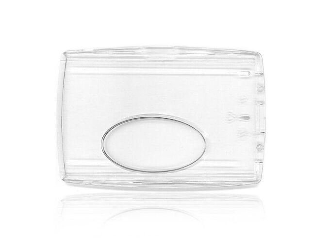 Protège-carte transparent avec fenêtre basse face arrière
