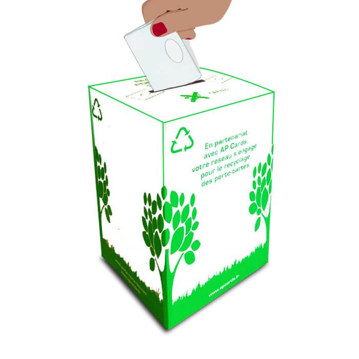 recycl'box collecteur étuis cartes badges usagés
